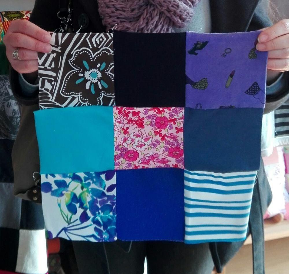 Pour les rendre plus visibles, on peut séparer les tissus à motifs en intercalant avec des tissus unis