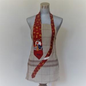 Cravate Sylvestre de Disney sur tablier en lin marron